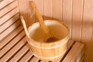 Finnish sauna wooden bucket and spoon BL-ASSECCU